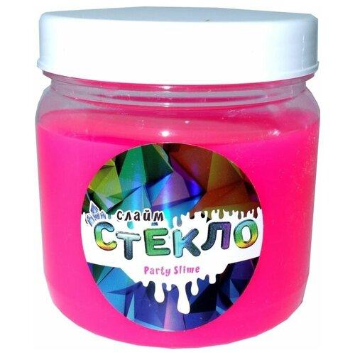 Слайм Стекло серия Party Slime, розовый неон, 400 гр, Слайм Стекло
