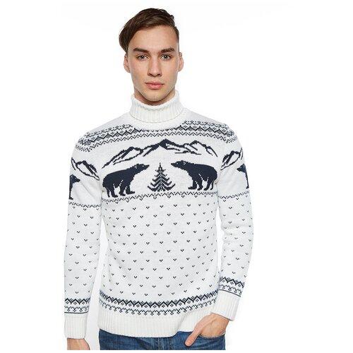 Шерстяной свитер с высоким горлом, скандинавский орнамент с Медведями, натуральная шерсть, белый цвет, размер XXL