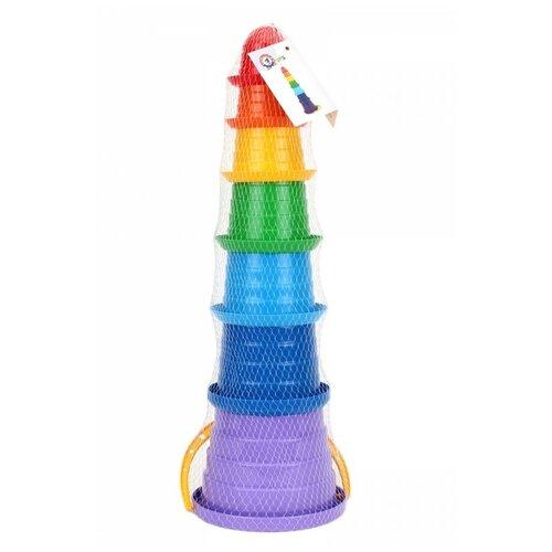 Набор для песочницы игрушки для песочницы технок Пирамидка сомбреро 7 эл., / Наборы для игры в песке, разноцветная