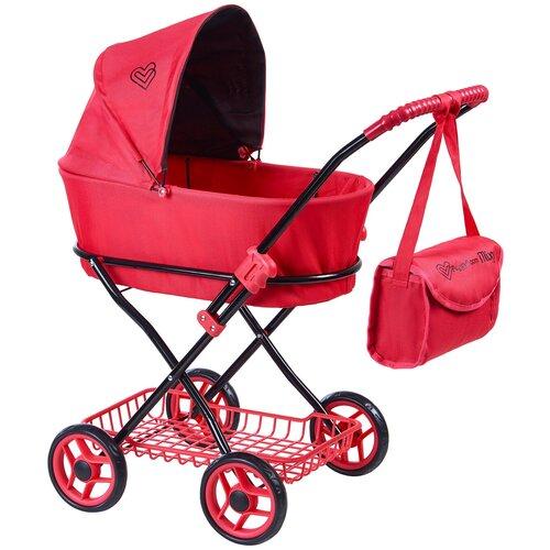 Купить Детская игрушечная классическая коляска Buggy Boom для кукол Mixy 8019 с козырьком, сумкой и сетчатой корзиной, Коляски для кукол
