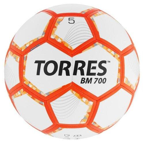 Мяч футбольный TORRES BM 700, размер 5, 32 панели, PU, гибридная сшивка, цвет бежевый/оранжевый/серый мяч футбольный torres bm 700 размер 5 арт f320655
