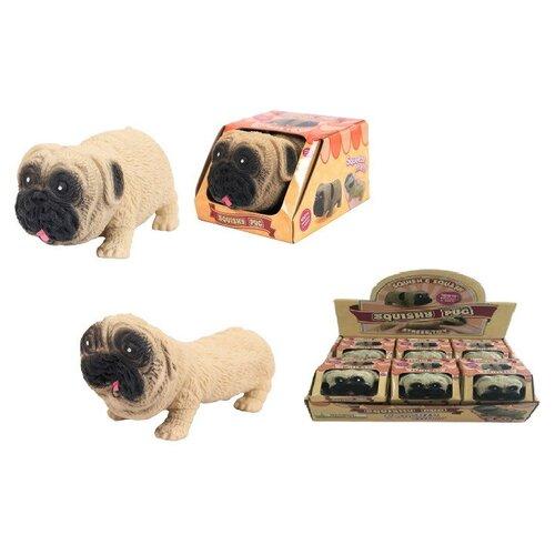 Игрушка-антистресс Junfa Тянучка собака мопс 10 см в дисплее в индивидуальной коробочке, 6 шт в дисп