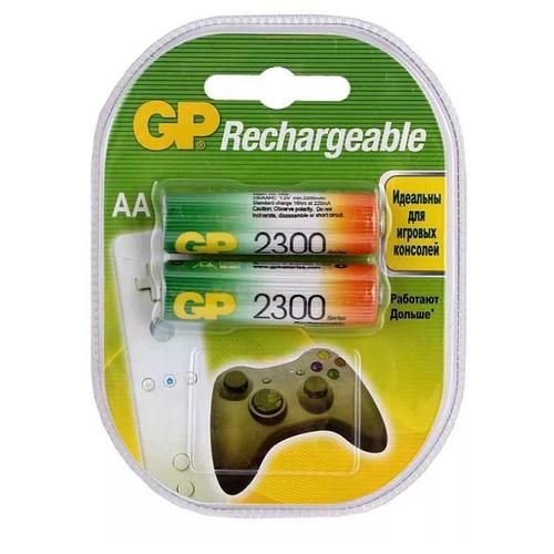 Фото - Аккумуляторы GP Rechargeable 2300 mAh NiMH AA 1.2V (2 шт) аккумуляторы gp 1000 мач в комплекте с зарядным устройством адаптером 1а и кабелем