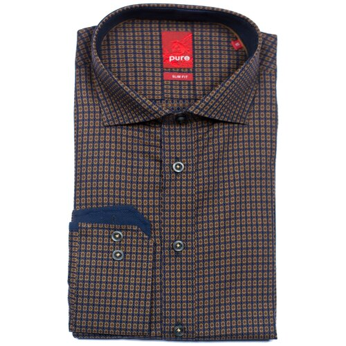 Рубашка pure размер M темно-синий/коричневый