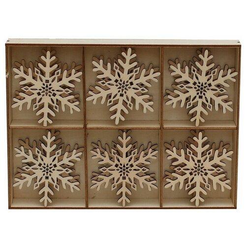 Набор украшений для лампочек рождественской горки снежинки, дерево, 8 см (упаковка 6 шт.), Sigro