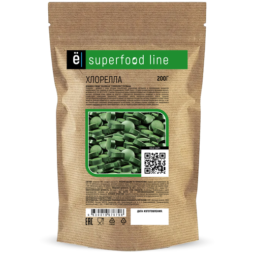 CHLORELLA SUPERFOODS («хлорелла»), в таблетках, 200гр банка (500 таб), Ё|батон