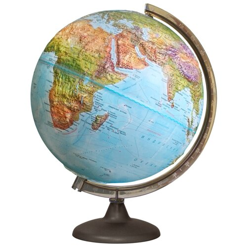 Глобус Земли Географический рельефный с подсветкой, диаметр 320 мм, 10244