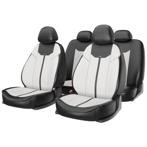 Универсальные чехлы на автомобильные сиденья CarFashion MUSTANG белый/черный/белый