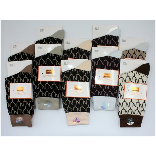 Носки женские Мастер Хлопка DB4067 / 10 пар, бежевые, черные, коричневые, персиковые, размер 36-41