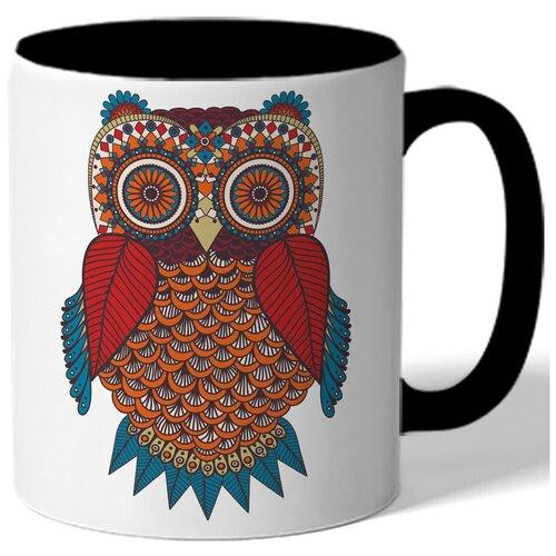 Кружка цветная - сова красная, коричневая, синяя