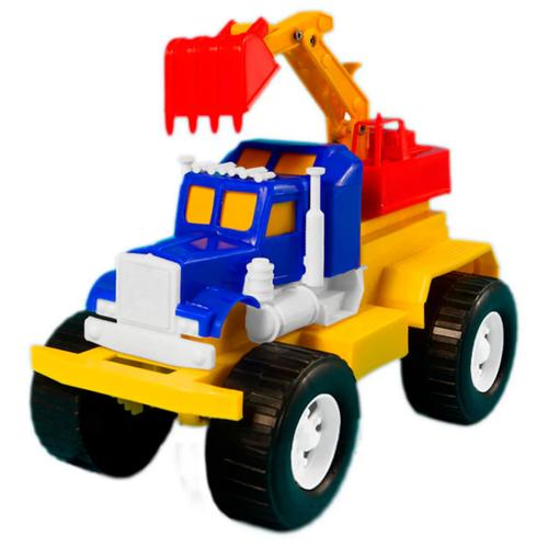 Детский экскаватор игрушка с подвижным ковшом MAXIMUS трак экскаватор синий/ бульдозер игрушка / трактор игрушка / строительная техника игрушки / детская машина каталка для мальчиков / игрушка каталка / машинка детская каталка / игрушки для песочницы