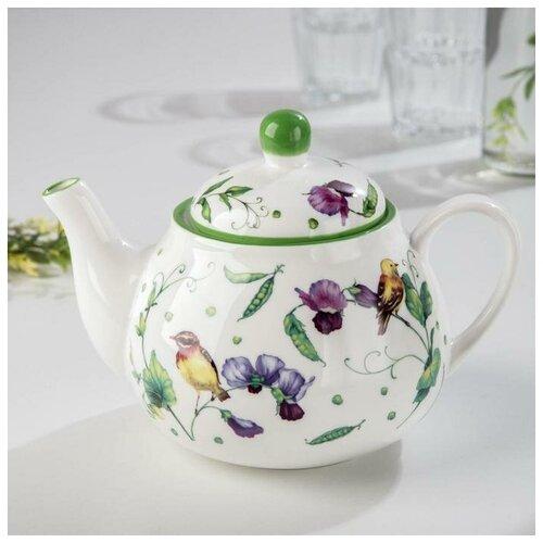 Чайник заварочный Зеленый сад 1000 мл, 21х13,5х14 см 2532195 доляна чайник заварочный восточная ночь 600 мл зеленый