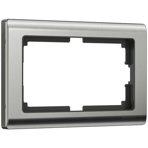 Рамка из металла для двойной розетки Metallic глянцевый никель Werkel W0081602/ Рамка для двойной розетки Metallic (глянцевый никель)