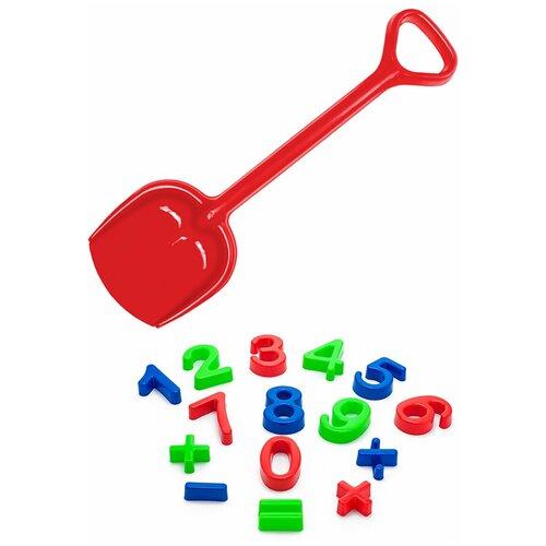Купить Детский игровой набор для песочницы: Арифметика + Лопатка 50 см красная, Karolina toys, Наборы в песочницу