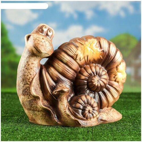Садовая фигура Улитка с кленовыми листьями Welcome, под шамот, 20*38*34 см садовая фигура щенок с клубникой 20 х16 см 6255372