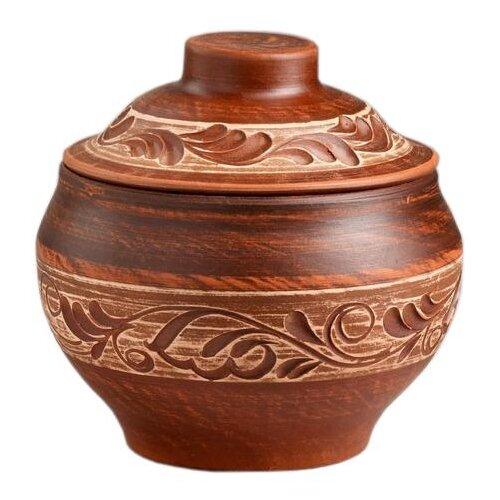 Горшок для запекания Красная глина Этно семейный, 0.6 л, 13 см