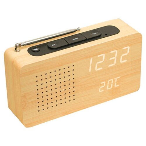 Заводские светодиодные цифровые деревянные часы радио-будильник MyPads Premium M153-558 идеальный бизнес подарок любимому мужчине отцу дедушке дяде крестному брату начальнику на юбилей День рождения Новый год Рождество 23 февраля день отца.