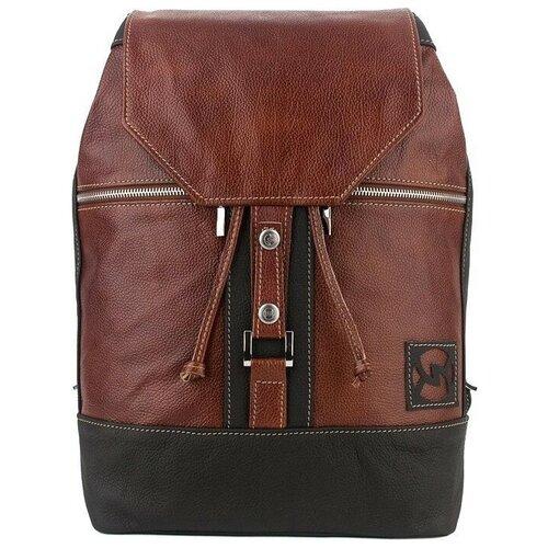 Кожаный городской рюкзак Sofitone RM 002 B6-D4 Темно-рыжий-Черный
