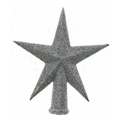 Елочная верхушка звезда делюкс малая, пластик, глиттер, серебряная,13 см, Kaemingk
