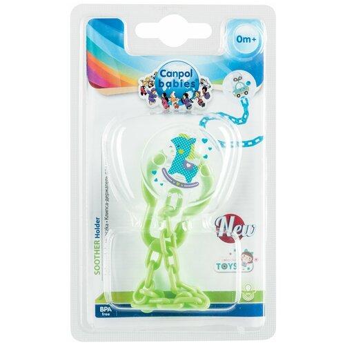 Купить Клипса-держатель для пустышек Canpol babies Toys, 0+, цвет зеленый (250989447), Пустышки и аксессуары