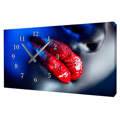 Часы - картина Алые губы, 58х34 см