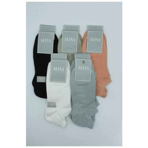 Носки женские Alina 2046 / 10 пар, белые, черные ,зеленые ,голубые ,оранжевые, размер 37-41