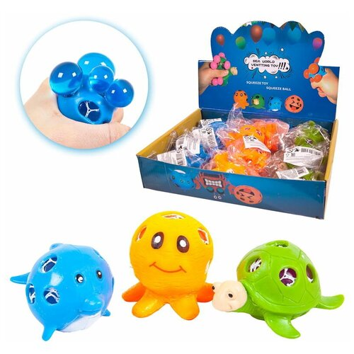 Игрушка-антистресс Junfa Dinosaur World Мялка Морские животные - выдави пузырьки в дисплее 12 шт