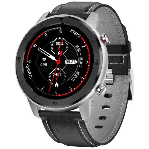 Смарт-часы GARSline DT78 с изменением давления черные с черным кожаным ремешком