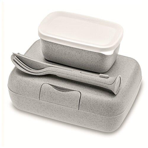 Ланч-боксы KOZIOL Набор из 2 ланч-боксов и столовых приборов Candy Ready Organic серый
