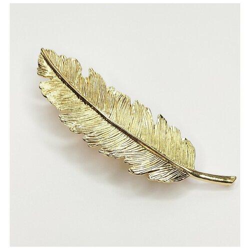 Купить Заколка- автомат для волос, перо золотое, Fashion jewelry