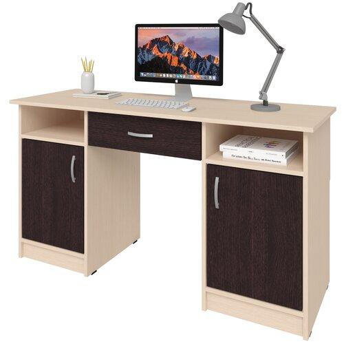 Фото - Письменный стол СитиМебель Хит-10, ШхГ: 140х50 см, цвет: дуб молочный/венге цаво письменный стол ситимебель компактный шхг 140х50 см цвет венге цаво