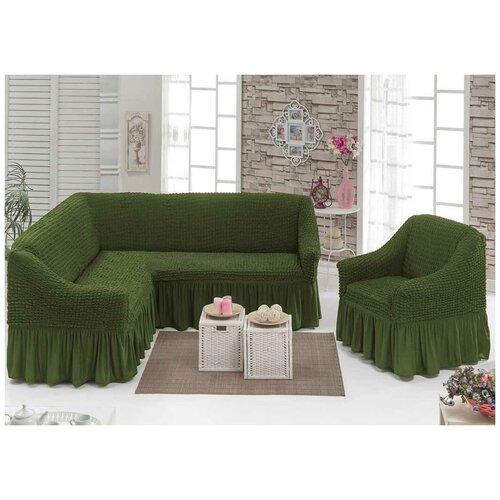 Угловой Чехол на Диван+Кресло, зеленый