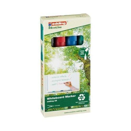 Купить Набор маркеров для белых досок Edding 28 Ecoline 4 цвета (толщина линии 1, 5-3 мм, 4 штуки в упаковке) 1 шт., Маркеры