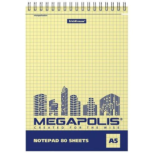 Купить ErichKrause Блокнот на спирали MEGAPOLIS Yellow Concept А5 ( 148х210 мм) 80 лклетка желтый внутренний блок 49806 4 шт., Блокноты и записные книжки
