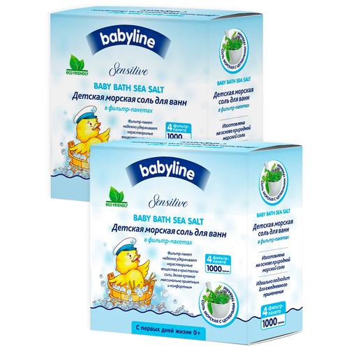 BABYLINE Детская морская соль для ванн с целебными травами, 1000 гр Х 2шт недорого