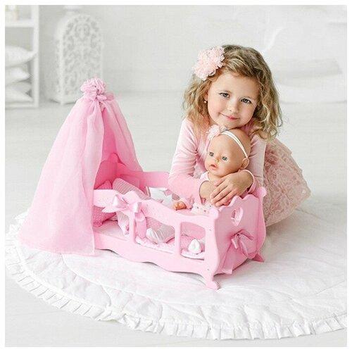 Кровать для кукол с балдахином и постельным бельем, розовая