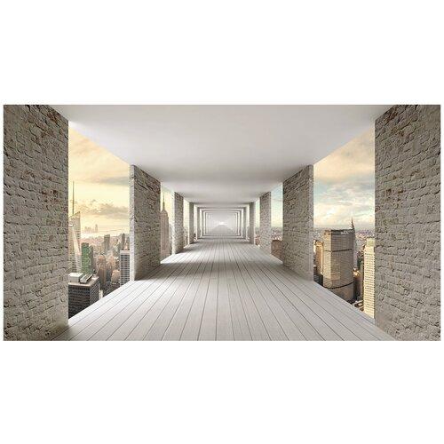 Фотообои 3D тоннель с кирпичными стенами над городом/ Красивые уютные обои на стену в интерьер комнаты/ 3Д расширяющие пространство над кроватью или над столом/ На кухню в спальню детскую зал гостиную прихожую/ размер 500х270см/ Флизелиновые