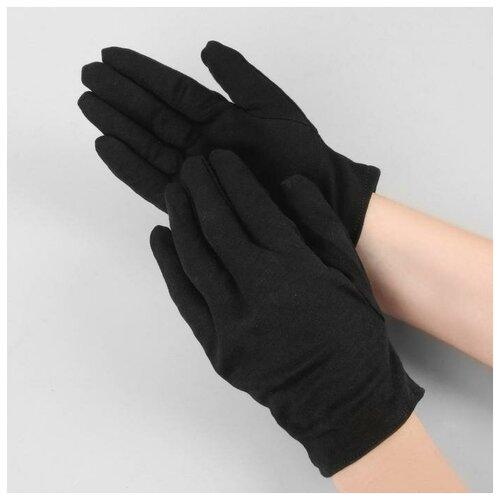 Перчатки хлопковые р-р M чёрн пакет (фас 12пар цена за пару) 5122073