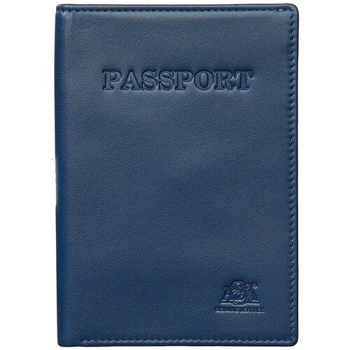 Обложка на паспорт A&M в фирменной подарочной коробке 100% натуральная кожа синий 6112Blue