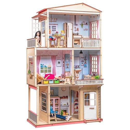 Деревянный кукольный домик с мебелью Большой дом для Барби