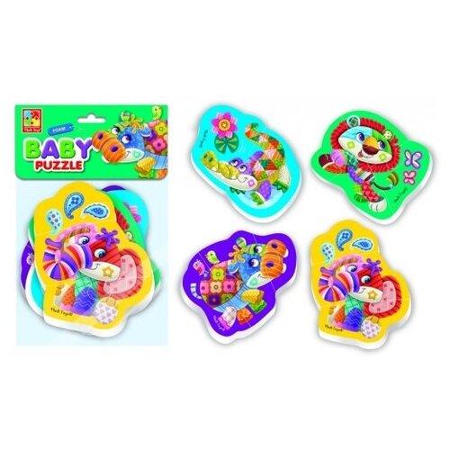 Купить Пазлы мягкие Baby Puzzle Чудо зоопарк 4 картинки, 12 эл., Vladi Toys