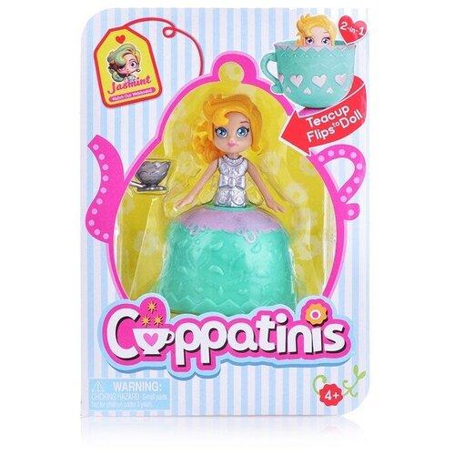 Кукла Cuppatinis 10 см с юбочкой, трансформирующейся в чайную чашку; с аксессуаром - чашечкой 1 см., декорированной разными элементами цвета