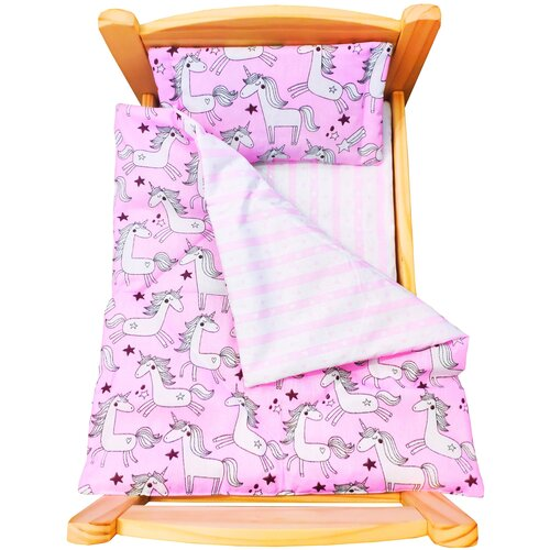 lili gaufrette болеро Комплект для большой куклы Lili Dreams: одеяло, подушка, матрас Единорожки в розовом