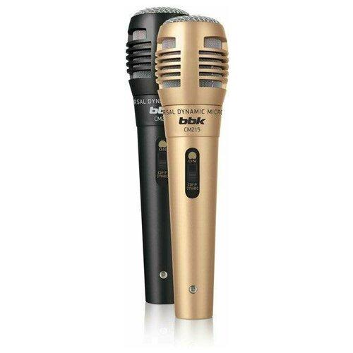 Микрофон проводной BBK CM215 2.5 м, черный/шампань