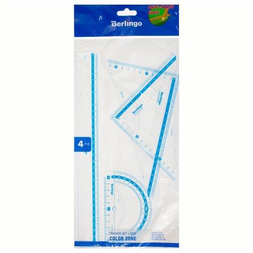 Купить Набор чертежный большой Berlingo Color Zone (треугольники 2шт., линейка 30см, транспортир) прозрачный (RS_30504), Чертежные инструменты