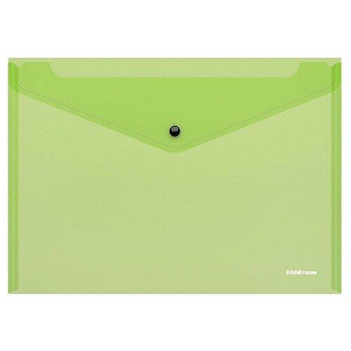 Папка-конверт на кнопке пластиковая ErichKrause® Fizzy Neon, полупрозрачная, A4, ассорти (в коробке-дисплее по 24 шт.) недорого