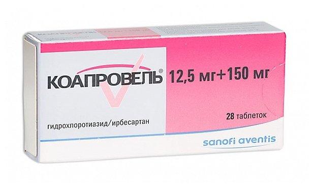 Коапровель таб. п/о плен. 150 мг+12,5 мг №28