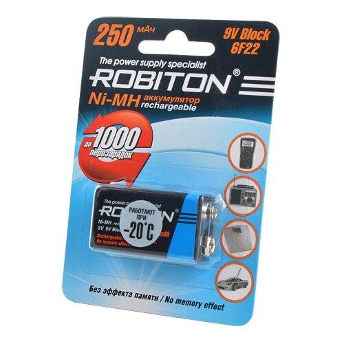 Купить Аккумулятор Ni-Mh 250 мА·ч ROBITON 9V Крона 6F22 250 1 шт блистер