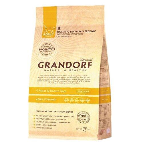 Корм для кошек Grandorf (2 кг) 4 Meat & Brown Rice STERILIZED takasago brown rice шампунь