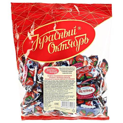 Конфеты Красный Октябрь Желейные вкус клубника со сливками, пакет 250 г фото